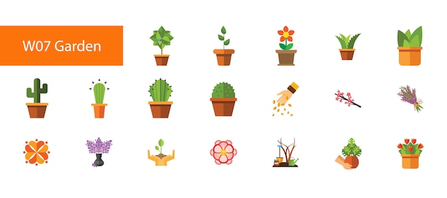 Flache ikonensammlung der neunzehn hauspflanze auf weißem hintergrund.