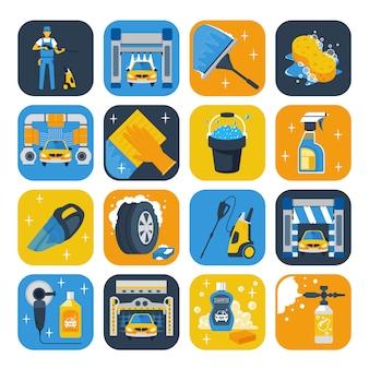 Flache ikonensammlung der waschanlage-servicesymbole mit windschutzscheibenwischer-seifenkanone