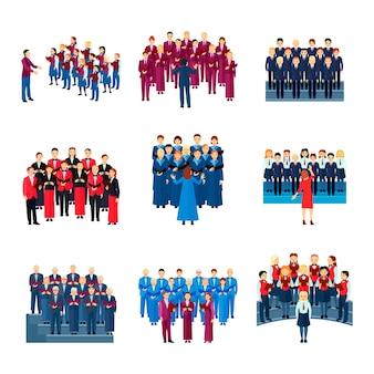 Flache ikonensammlung des chores von 9 musikalischen ensembles