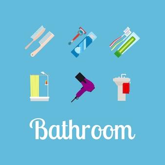 Flache ikonenset der badezimmerartikel