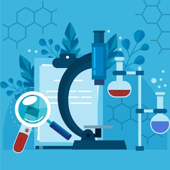 Flache illustration biotechnologie