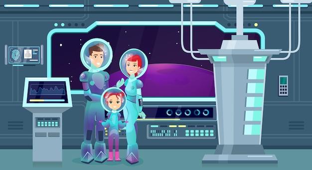 Flache illustration der astronautenfamilie. fröhliche mutter, vater und tochter in raumanzügen zeichentrickfiguren. glückliches paar mit kind auf kosmischem abenteuer. weltraumforscher, futuristischer tourismus.