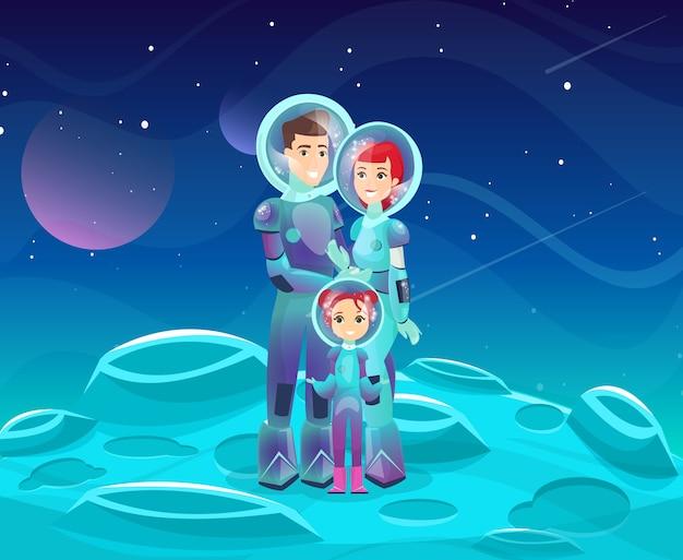 Flache illustration der astronautenfamilie. fröhliche zeichentrickfiguren von mutter, vater und tochter. glückliches paar mit kind auf kosmischem abenteuer. weltraumforscher, futuristischer tourismus.