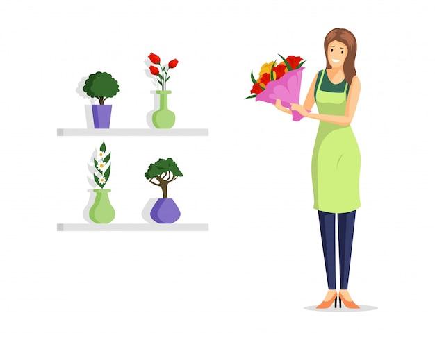 Flache illustration der blumenladenarbeitskraft. junger florist im schutzblech, das schöne blumenstraußzeichentrickfilm-figur hält. natürliche blumen, einzelhandel für dekorative zimmerpflanzen, floristikgestaltungselement
