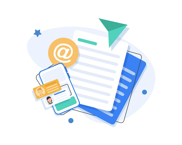 Flache illustration der e-mail-marketingkampagne