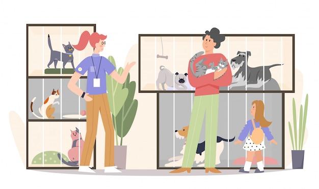 Flache illustration der familie, die katze annimmt. vater, glückliches mädchen kind und tierhandlung arbeiter freiwillige zeichentrickfiguren.