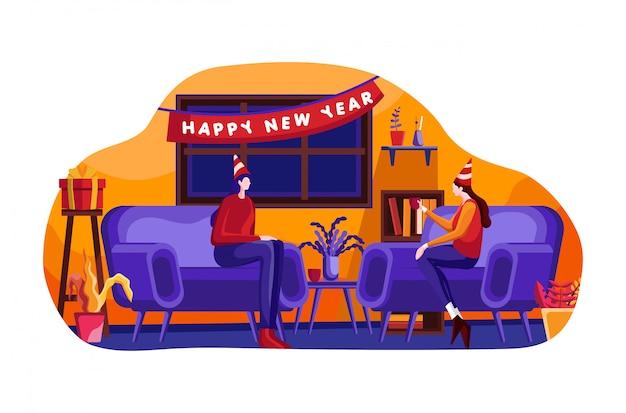 Flache illustration der feier des neuen jahres