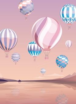 Flache illustration der fliegenden luftballons. verschiedene flugzeuge über dem fluss