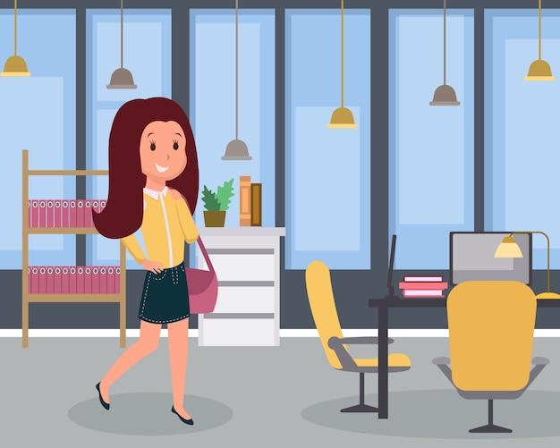 Flache illustration der frau bei der arbeit. moderner arbeitsplatz des büroangestellten, arbeitsplatzinnenraum