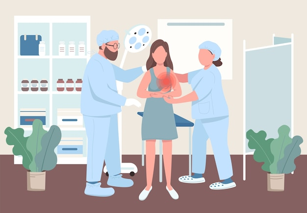 Flache illustration der frauen-onkologie