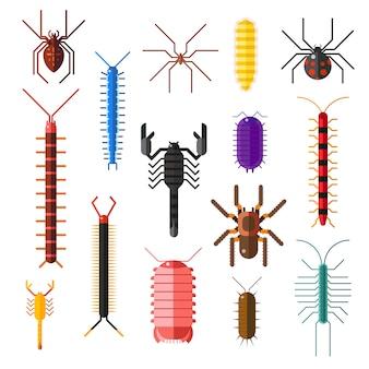 Flache illustration der gefährlichen insektentier-vektorkarikatur der spinnen und der skorpione