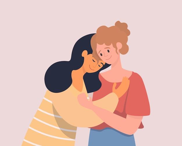 Flache illustration der glücklichen jungen weiblichen charaktere der zwei umarmenden frauen