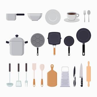 Flache illustration der grafischen elemente der küchenwerkzeuge