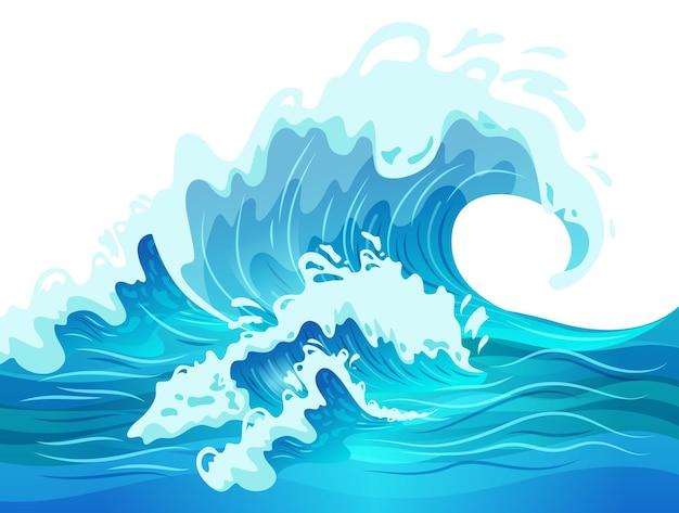 Flache illustration der großen blauen ozeanwelle