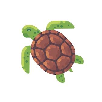 Flache illustration der grünen schildkröte. meerestier-symbol