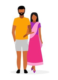 Flache illustration der indischen familie. asiatische paarzeichentrickfiguren.
