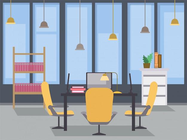 Flache illustration der innenarchitektur des modernen büros. coworking open space, zeitgemäßer gebäudearbeitsplatz