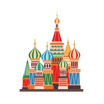 Flache illustration der kathedrale des heiligen basilius. russisch-orthodoxe karikaturkirche mit mehrfarbigen kuppeln.