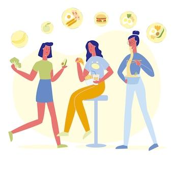 Flache illustration der köstlichen teller-wahlen