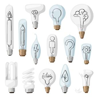 Flache illustration der kreativen ideenlampenkarikatur.