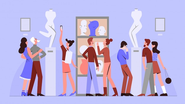 Flache illustration der kunstgalerie. renaissance-skulpturenausstellung. kulturmuseum ausflug. meisterwerksausstellung. ausstellungshalle. frauen- und mannkarikaturfiguren auf blauem hintergrund