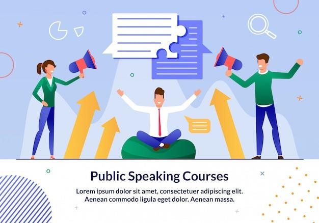 Flache illustration der kurse des öffentlichen sprechens