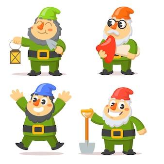 Flache illustration der lustigen gnomecharaktere