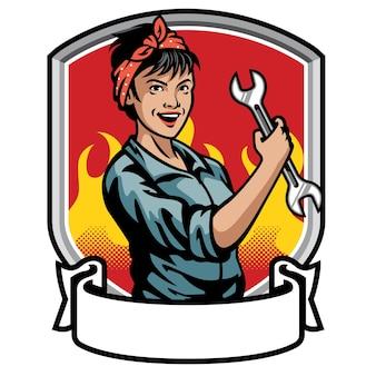 Flache illustration der mechanikerin