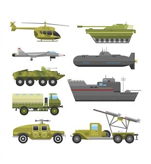 Flache illustration der militärischen technischen transportrüstung.