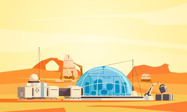 Flache illustration der mission zur besiedlung der marsoberfläche