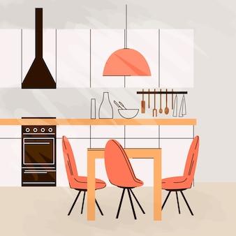 Flache illustration der modernen küche interieur leer no people house zimmer mit küchenmöbeln, tisch, stühlen und kochtisch.