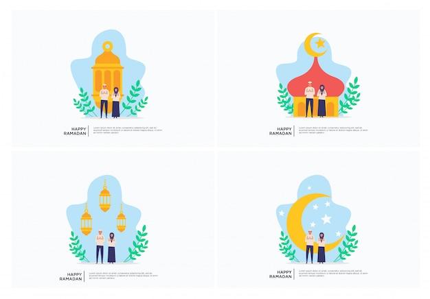 Flache illustration der moslemischen familie ramadan