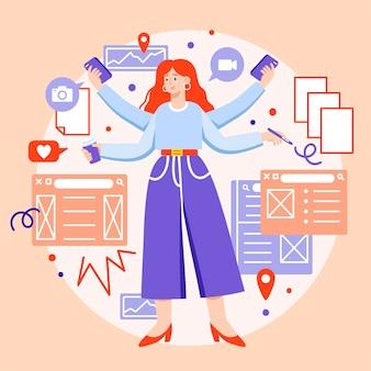 Flache illustration der multitask-geschäftsfrau