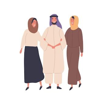 Flache illustration der muslimischen familie