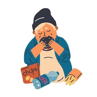 Flache illustration der nahrungsmittelsucht des kindes