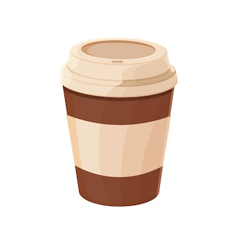 Flache illustration der papierkaffeetasse für designverpackungsnahrungsmittel zum mitnehmen