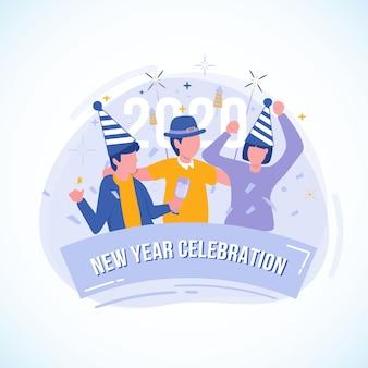 Flache illustration der partei mit freunden für die feier des neuen jahres