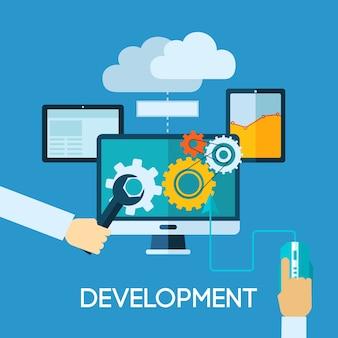 Flache illustration der programmentwicklung