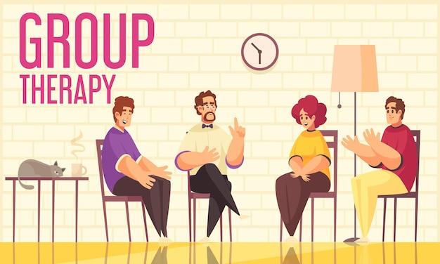 Flache illustration der psychotherapie-gruppentherapiesitzung mit mitgliedern, die von einem therapeuten geleitet werden, der ihre stimmungen und gefühle teilt