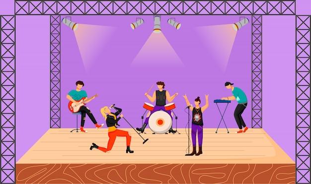 Flache illustration der punkrockband. musikgruppe mit zwei sängern, die beim konzert auftreten. musiker spielen zusammen auf der bühne. live musikalische darbietung. festival. zeichentrickfiguren