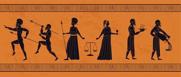 Flache illustration der realistischen antiken griechischen verzierung verziert