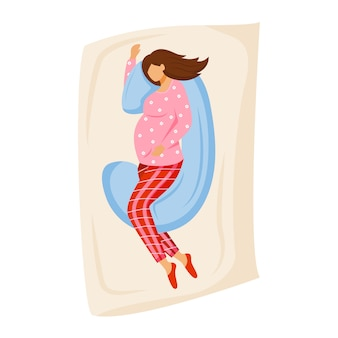 Flache illustration der schwangeren frau schlafend. junge mutter wartet auf baby. vorbereitung auf die mutterschaft. dame, die auf schwangerschaftskissen auf bettkarikaturfigur auf weißem hintergrund schläft