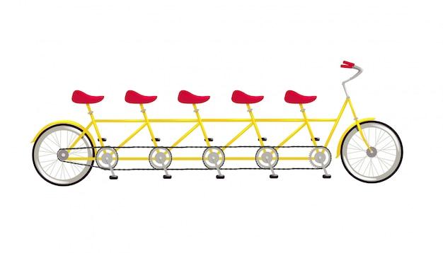 Flache illustration der tandemfahrradikone lokalisiert auf weiß