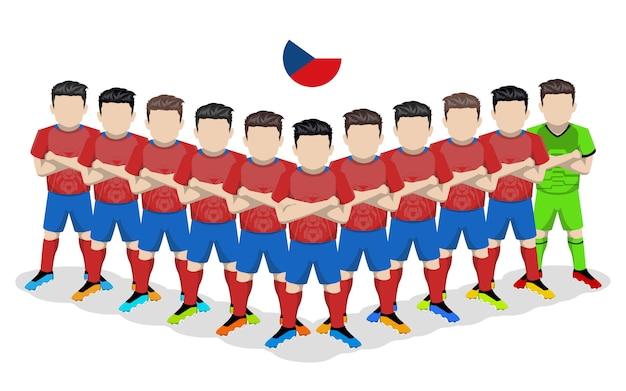 Flache illustration der tschechischen fußballnationalmannschaft für europäischen wettbewerb