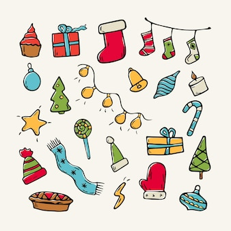 Flache illustration der vektorkarikatur. set von weihnachtsdoodle-icons für die dekoration. thema weihnachten. hintergrunddekoration.