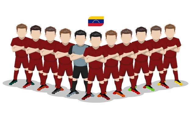 Flache illustration der venezolanischen fußballnationalmannschaft für südamerika-wettbewerb