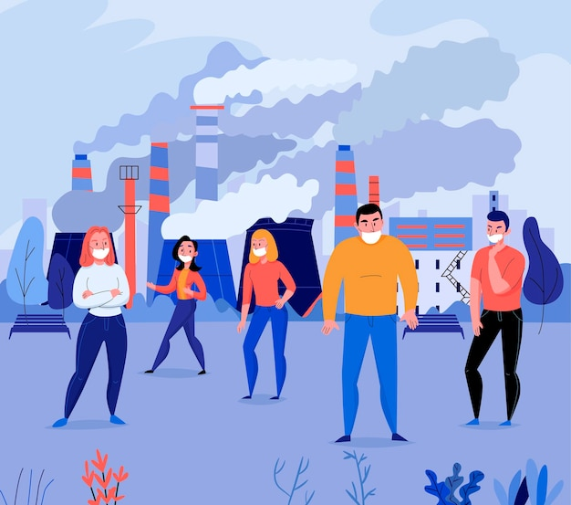Flache illustration der verschmutzung mit einer gruppe von menschen, die gesichtsmasken in der nähe der fabrik trägt, die die luft verunreinigt Premium Vektoren