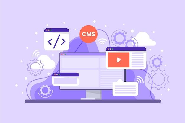Flache illustration der webentwicklung