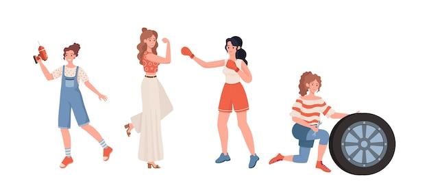 Flache illustration der weiblichen berufe