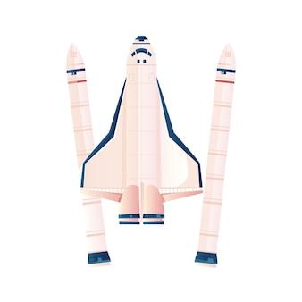 Flache illustration der weltraumrakete auf weiß
